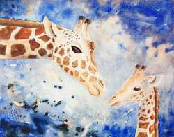 Mother's Love watercolor by painting artist Carol May