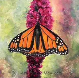 Monarch on Liatris oil painting