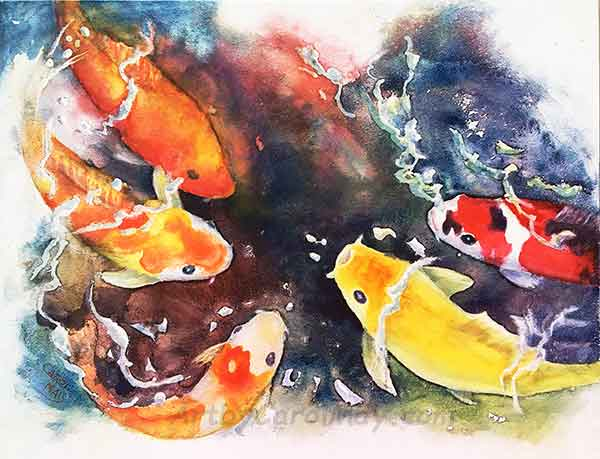 Koi Challenge an original watercolor painting for sale by the artist Carol May