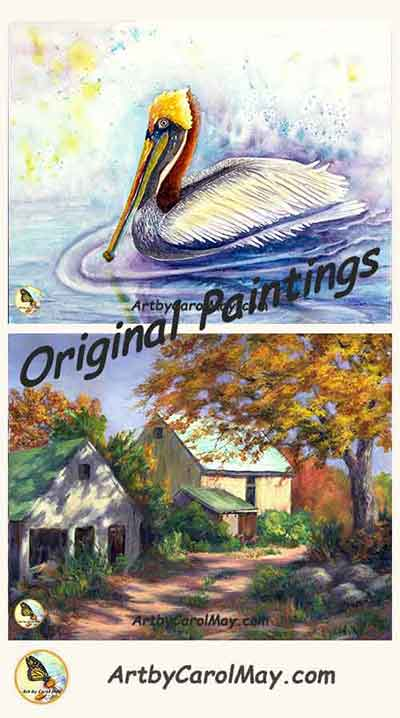 Originals for sale by the artist Carol May, watercolor and oil paintings