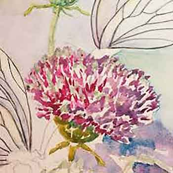 Paint the green parts of the thistle flowers. watercolor art by Carol May