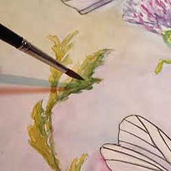 Paint a light and dark side of the leaves and stems. How to watercolor paint by artist Carol May