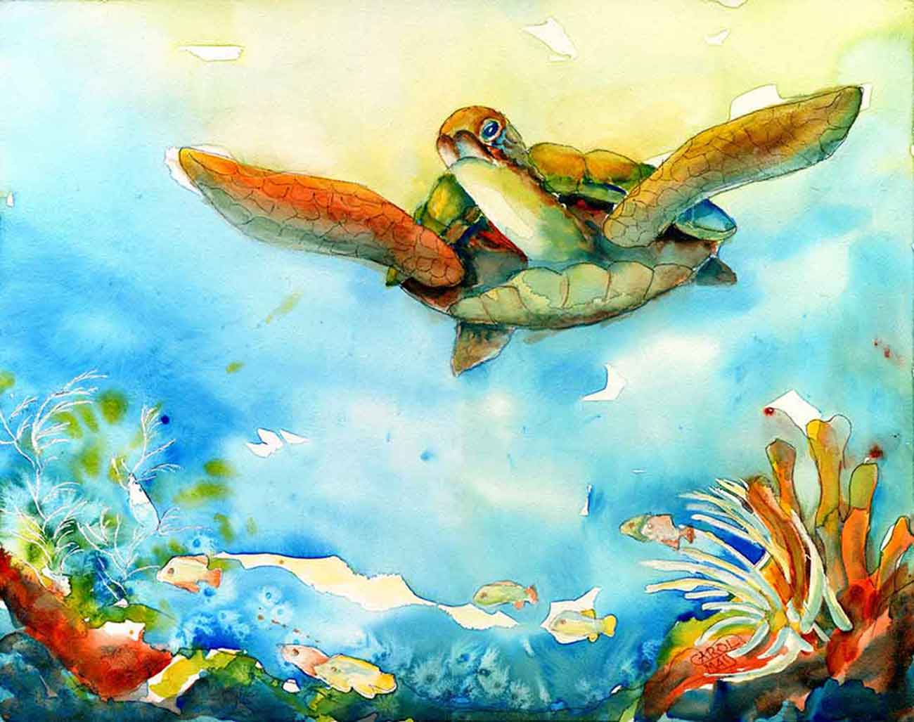 Beautiful Nature Painting of a sea turtle painted with watercolor by the painting artist Carol May