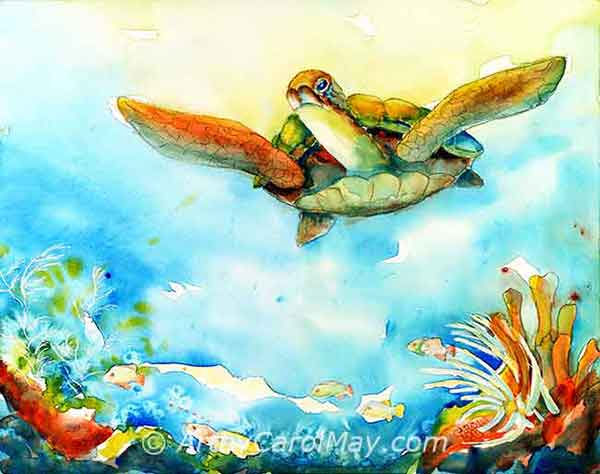 Bold Freedom watercolor painting of a sea turtle