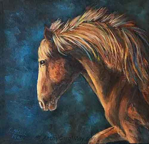 An oil horse painting by artist Carol May