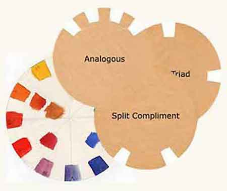Try the different color scheme templates over your color wheel to select the paint colors for an individual painting.
