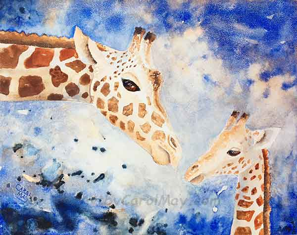 Mother's Love an original watercolor painting for sale by the artist Carol May