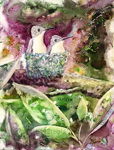Tiny Treasures is an original watercolor painting of baby hummingbirds in the nest by the painting artist Carol May