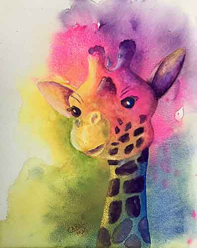 Fun Giraffe watercolor by painting artist Carol May