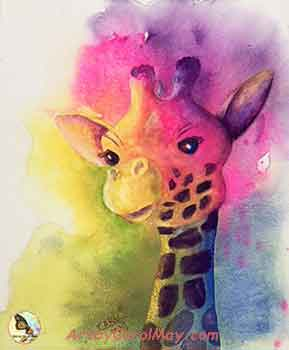 Finish your fun giraffe painting.
