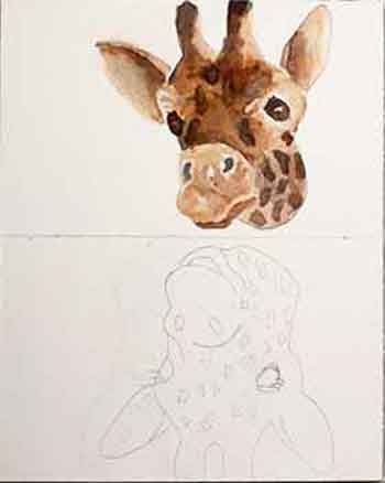 Paint the giraffe subject before the background.