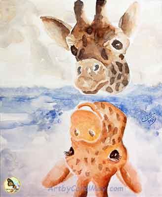 Paint the background around the giraffes.