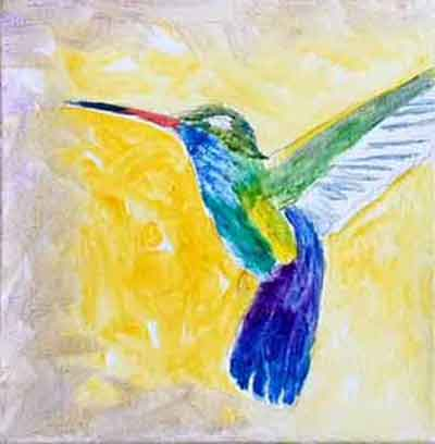 Under paint the background around the hummingbird