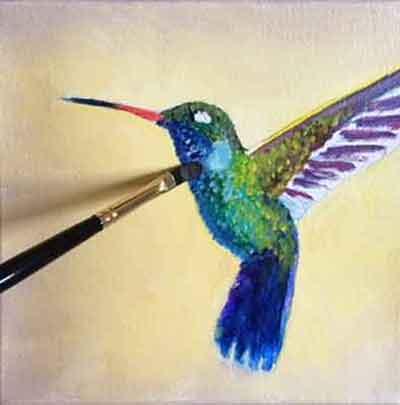 Paint dark colors the hummingbird, then paint the lighter colors.