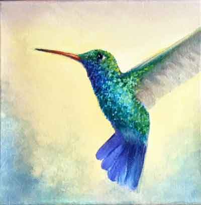 Paint the details on the hummingbird