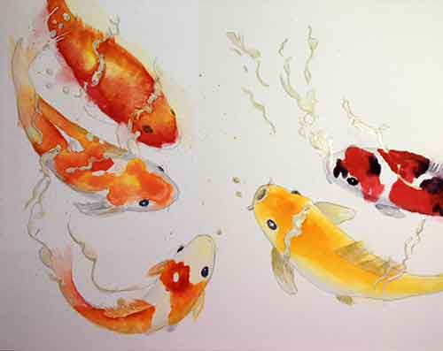 Painting Koi with watercolor