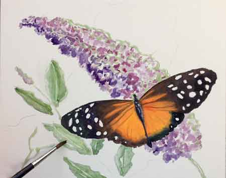 Painting the Butterfly Bush leaves