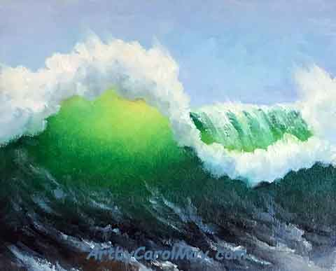 Finish of the demo of five easy step of painting a wave. art by Carol May
