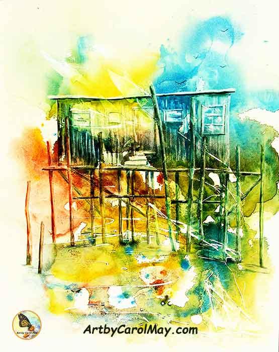 Honeymoon Cottage at Cedar Key, Florida - watercolor painting by Carol May
