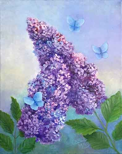 Little Blue Butterflies oil painting an original for sale by the artist Carol May