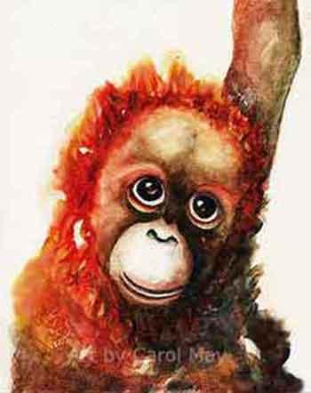 Monochromatic painting of a Baby Orangutan