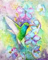 Broad-billed Hummingbird a watercolor painting by artist Carol May