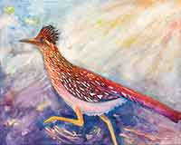 A watercolor painting of a Road-runner for sale by the artist Carol May