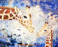 Mother's Love giraffe painting by Carol May