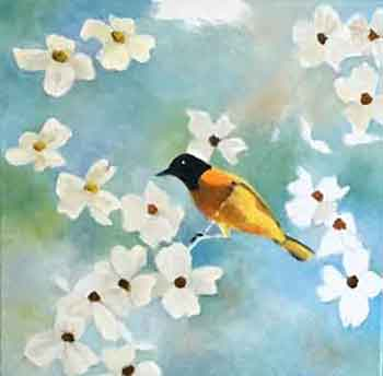 Painting the Dogwood flowers in progress by painting artist Carol May