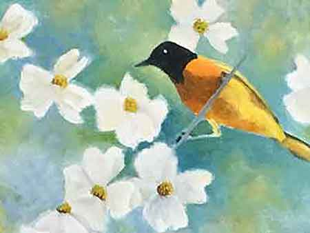 Painting the Dogwood flower petals by Carol May