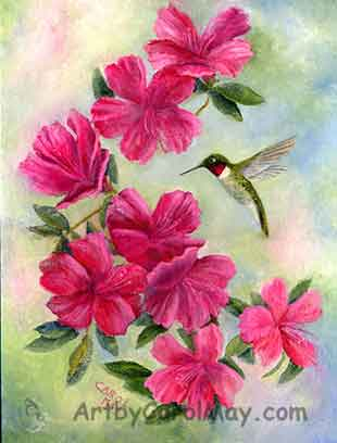 Spring Beauty an oil painting of a Ruby-throated Hummingbird visiting azalea flowers
