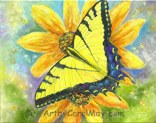 Tiger Swallowtail Butterfly on yellow daisies, Art by Carol May