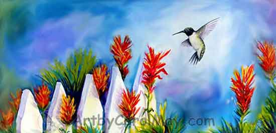 Black-chinned Hummingbird with Liatris watercolor painting by Carol May