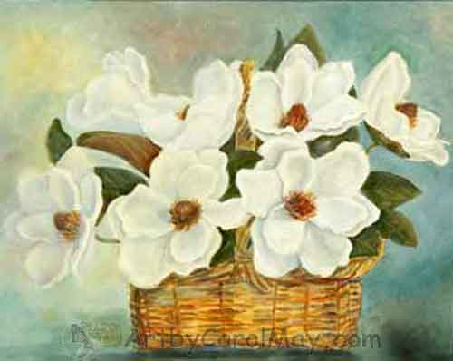 Blooming Basket of Magnolia Flowers by Carol May
