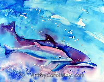 Painting of mother and baby dolphins by Carol May