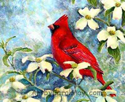 Cardinal 'n' Dogwood oil nature painting by Carol May