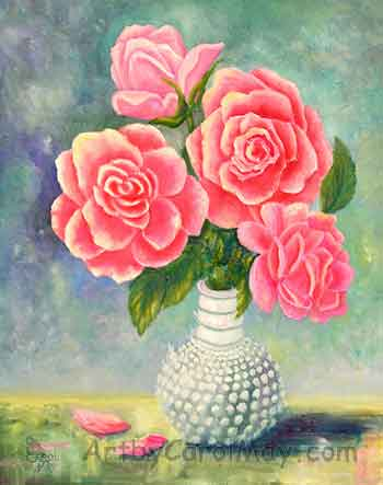 Pink roses in a Cologne Bottle an oil painting by artist Carol May