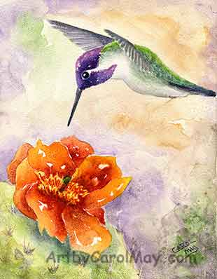 The painting technique of using hard edges verses soft edges - art by Carol May