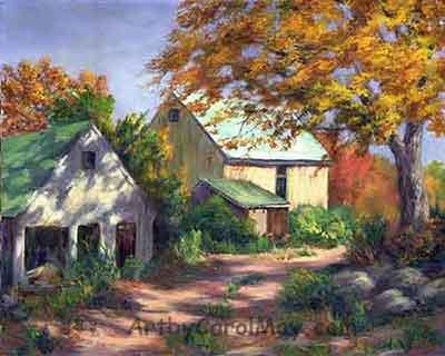 Country Barns an award winning painting by Carol May