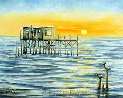 Day's End records the days gone by when the gulf coast of Florida had many stilt houses.