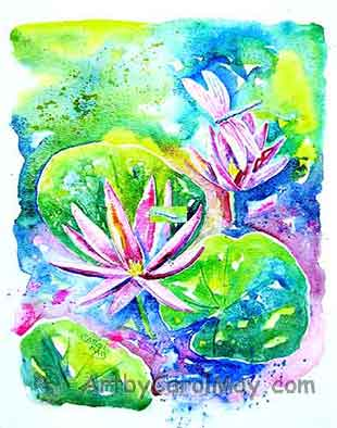 Dragonfly and Waterlilies watercolor painting by Carol May