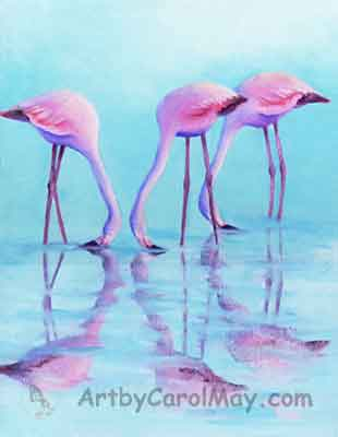 A beautiful oil painting by Carol May of Flamingos Feeding