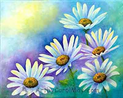 Learn how to paint daisies with Carol May the artist