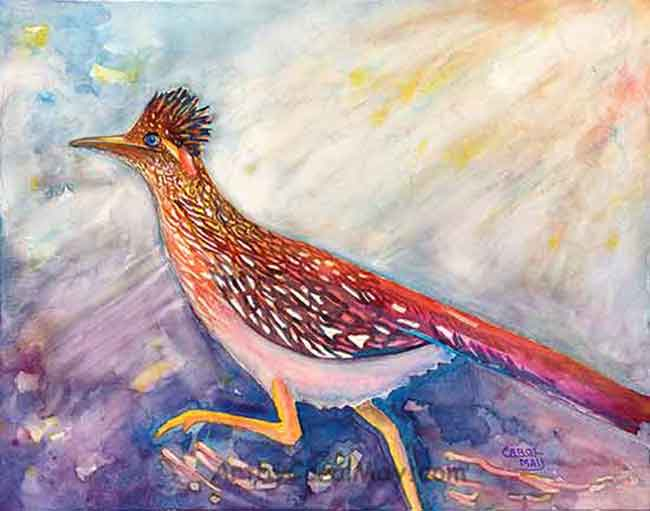 Going Places a watercolor painting of a Road Runner by painting artist Carol May