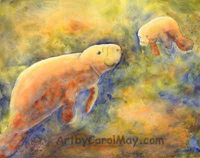 Happy Manatee watercolor painting art by Carol May