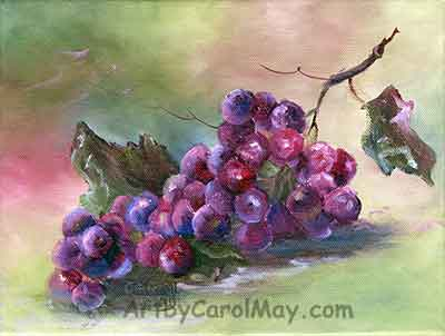 Harvest a still life painting of grapes by Carol May