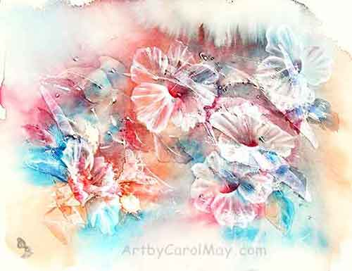 Hibiscus Freedom an innovative watercolor painting by the artist Carol May