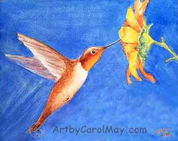 Painting a watercolor hummingbird and a yellow daisy flower with Carol May