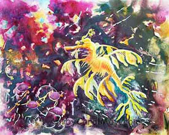 Leafy Sea Dragon With Purple Tangs watercolor painting by Carol May