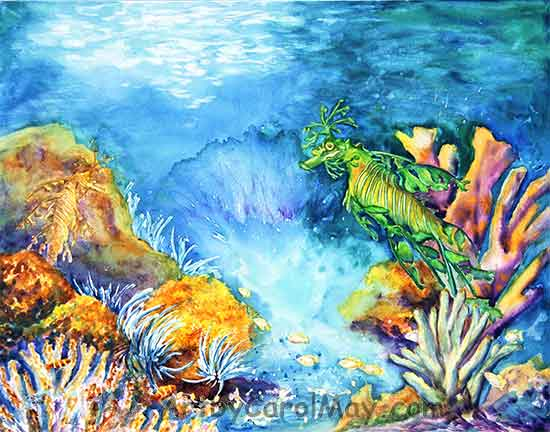 Leafy a watercolor painting of two Leafy Sea Dragons painted by Carol May